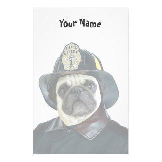 Fireman Pug stationary Stationery Paper