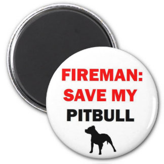 Fireman Rescue My Pitbull 2 Inch Round Magnet