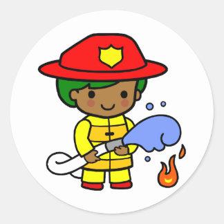Fireman Round Sticker