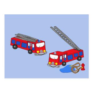 Fireman's Red Fire Trucks Postcard