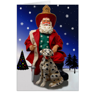Fireman Santa w/ Dalmation Holiday Card