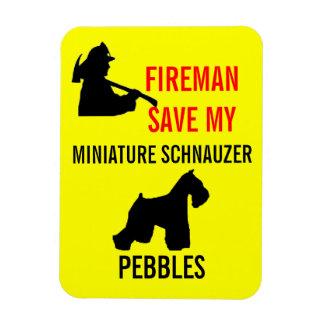 Fireman Save Miniature Schnauzer Fire Safety Rectangular Photo Magnet