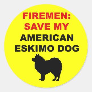 Fireman Save My American Eskimo Dog Classic Round Sticker