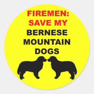 Fireman Save My Bernese Mountain Dogs Round Sticker
