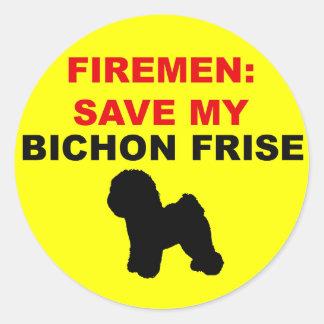 Fireman Save My Bichon Frise Round Sticker