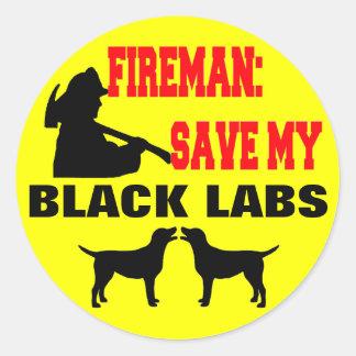 Fireman Save My Black Labs Classic Round Sticker