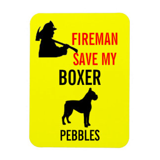 Fireman Save My Boxer Dog Fire Safety Rectangular Photo Magnet