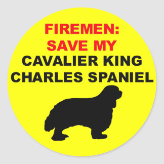 Fireman Save My Cavalier King Charles Spaniel Classic Round Sticker