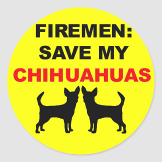 Fireman Save My Chihuahuas Round Sticker