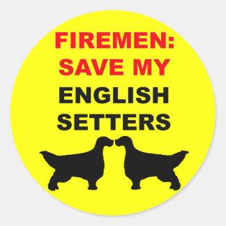 Fireman Save My English Setters Round Sticker