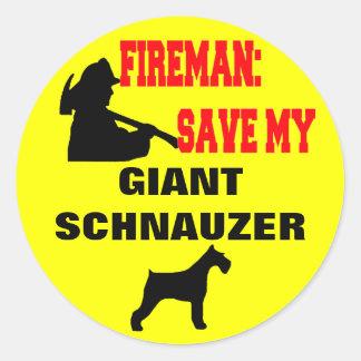 Fireman Save My Giant Schnauzer Classic Round Sticker