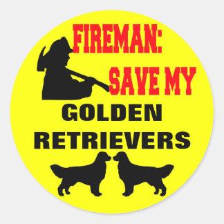 Fireman Save My Golden Retrievers Classic Round Sticker