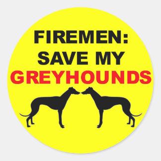 Fireman Save My Greyhounds Classic Round Sticker