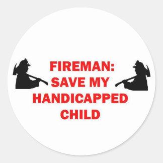 Fireman Save My Handicapped Child Round Sticker