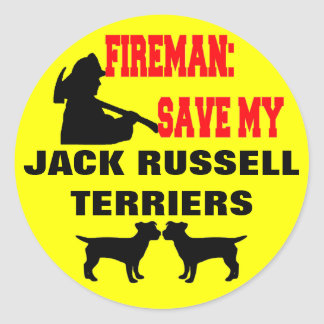 Fireman Save My Jack Russell Terriers Classic Round Sticker