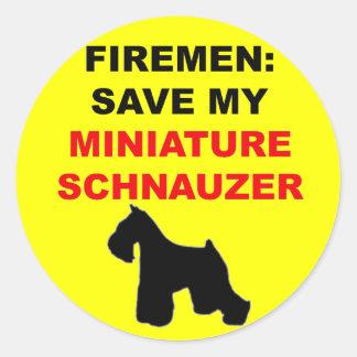 Fireman Save My Miniature Schnauzer Classic Round Sticker