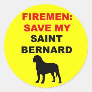 Fireman Save My Saint Bernard Round Sticker