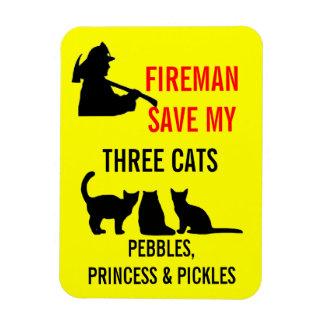 Fireman Save My Three Cats Safety Rectangular Photo Magnet