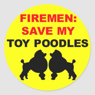 Fireman Save My Toy Poodles Round Sticker