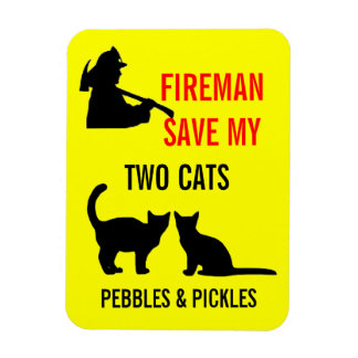 Fireman Save My Two Cats Safety Rectangular Photo Magnet