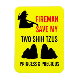 Fireman Save My Two Shih Tzus Fire Safety Rectangular Photo Magnet