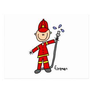 Fireman Stick Figure Postcard