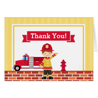 Fireman Thank You Card Folded Note Card