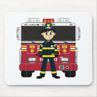 Fireman with Fire Engine Mousepad