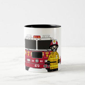Fireman with Fire Engine Mug