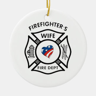 Fireman Wives USA Ceramic Ornament