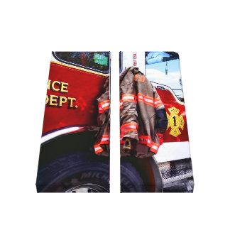 Fireman's Jacket On Fire Truck Canvas Print