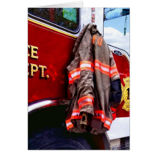Fireman's Jacket On Fire Truck Card