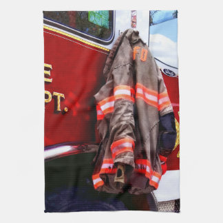 Fireman's Jacket On Fire Truck Hand Towels