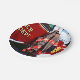 Fireman's Jacket On Fire Truck Paper Plate