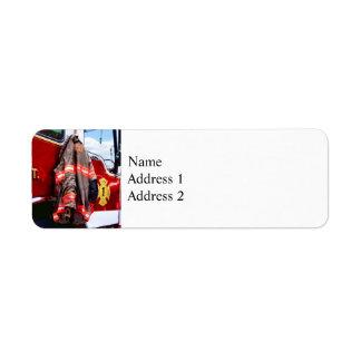 Fireman's Jacket On Fire Truck Return Address Label
