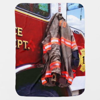 Fireman's Jacket On Fire Truck Stroller Blankets