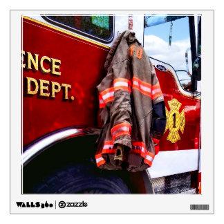 Fireman's Jacket On Fire Truck Wall Sticker