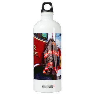 Fireman's Jacket On Fire Truck Water Bottle