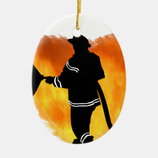 Firemen Love Flames Ceramic Ornament