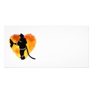 Firemen Love Flames Custom Photo Card