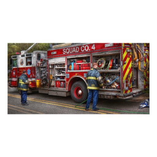Firemen - The modern fire truck Personalized Photo Card