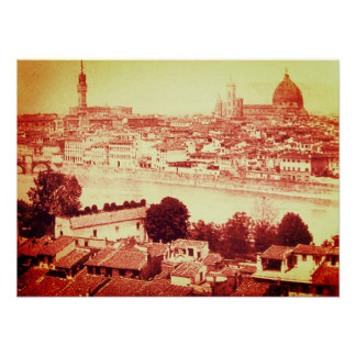 FIRENZE - ANTIQUE FLORENCE PANORAMIC VIEW 1859 POSTER