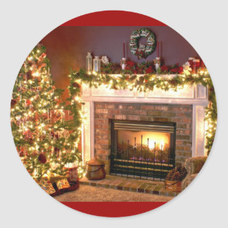 Fireplace 2 classic round sticker