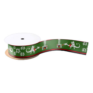 Fireplace Dragons Christmas pattern Satin Ribbon