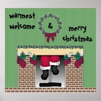 Fireplace Santa Poster