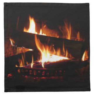 Fireplace Warm Winter Scene Napkin