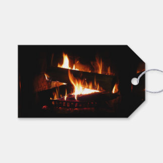 Fireplace Warm Winter Scene Photography Gift Tags