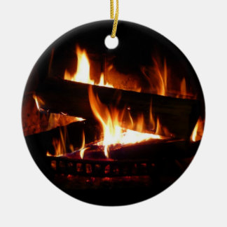 Fireplace Warm Winter Scene Photography Round Ceramic Ornament