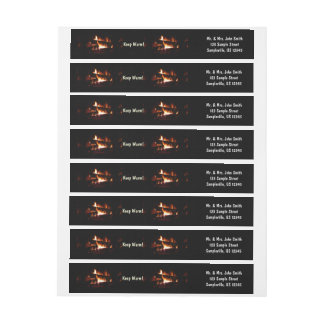 Fireplace Warm Winter Scene Photography Wrap Around Label