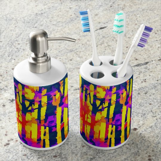 Fires And Passion Two Soap Dispenser And Toothbrush Holder